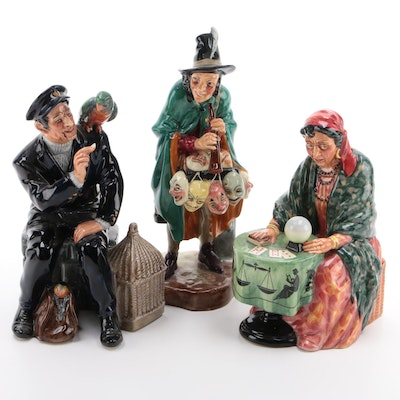 "Royal Doulton Ceramic Figurines Including ""Fortune Teller"" and ""The Mask Seller"""