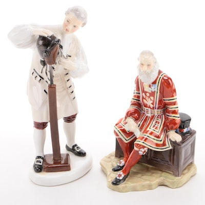 "Royal Doulton ""A Yeoman of the Guard"" and ""Wigmaker of Williamsburg"" Figurines"