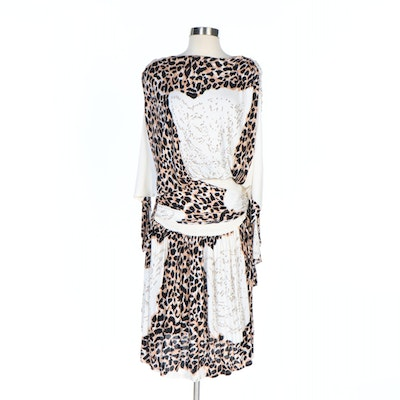 Creasy of Paris, France Leopard Print Dolman Sleeve Dress