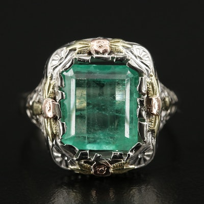 14K Tri-Color Gold 4.0 CT Emerald Ring