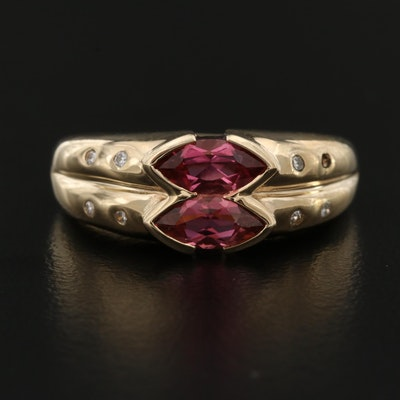 10K Gold Tourmaline and Diamond Ring