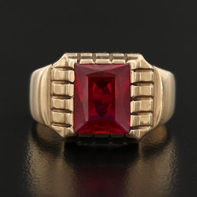 10K Faceted Ruby Ring
