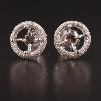 18K Diamond Semi-Mount Halo Earrings