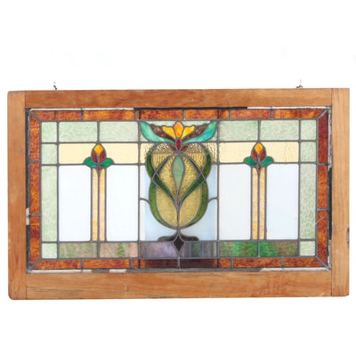 Arts and Crafts Leaded Stained Glass Window, Early 20th Century