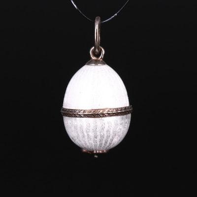 Sterling Guilloché Enamel Egg Pendant