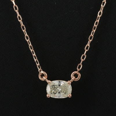 14K Rose Gold 0.42 CT Diamond Solitaire Necklace
