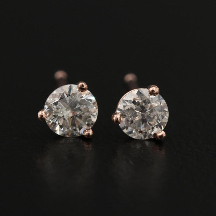 14K Rose Gold 0.50 CTW Diamond Stud Earrings