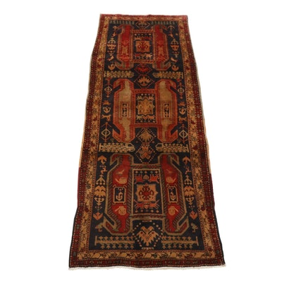 3'9 x 9'11 Hand-Knotted Northwest Persian Pictorial Wide Runner Rug, 1960s