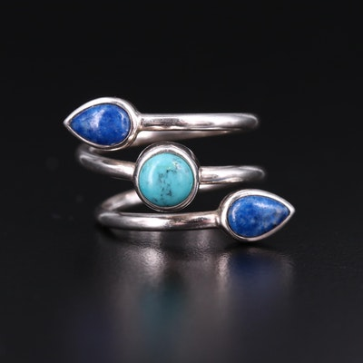 Sterling Silver, Lapis Lazuli and Turquoise Coil Ring