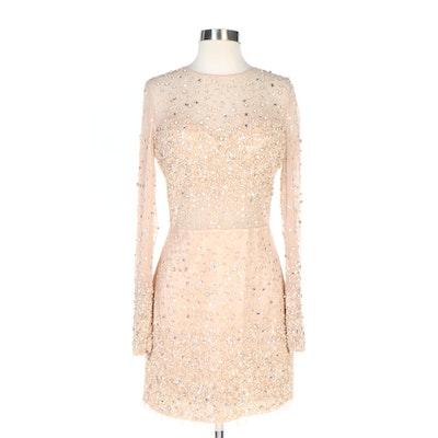 Bebe Embellished Illusion Yoke Cocktail Dress in Blush