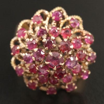 14K Gold Ruby Cluster Ring