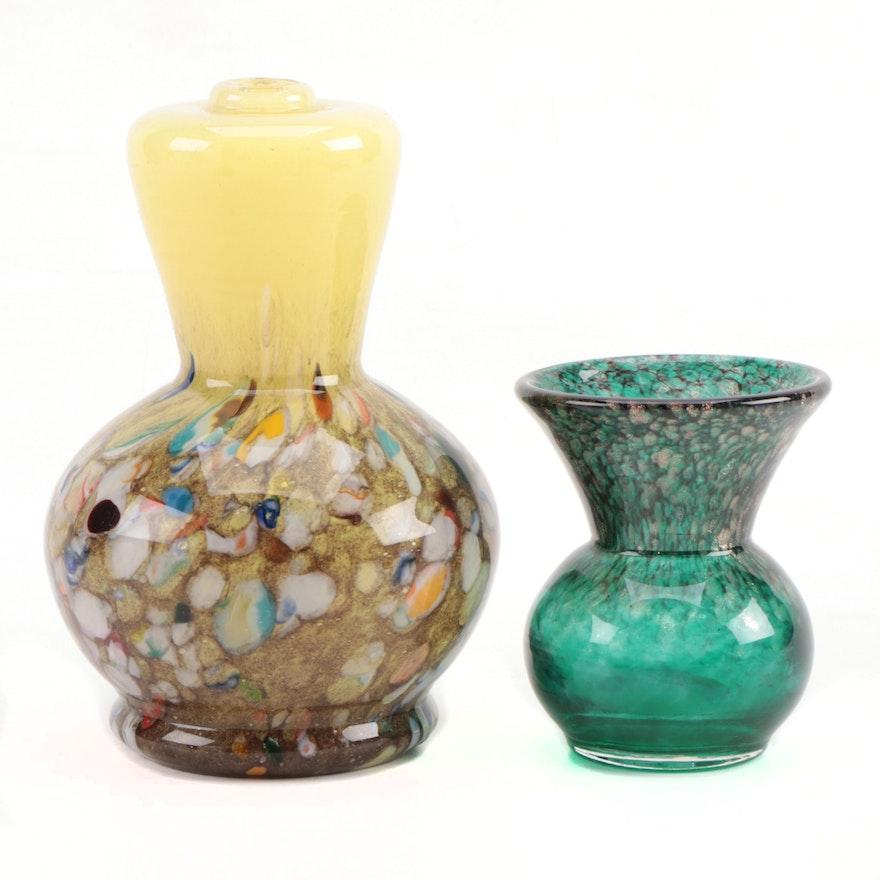 Vasart Mottle Art Glass Lamp Body and Scottish Art Glass Thistle Vase