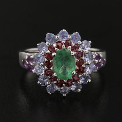 Sterling Emerald Ring with Rhodolite Garnet and Tanzanite Accents