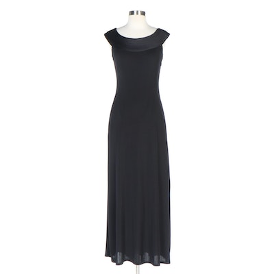 Tadashi Petite Black Sleeveless Maxi Evening Dress