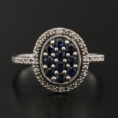 Sterling Sapphire Ring with Diamond Lined Shoulders and Halo