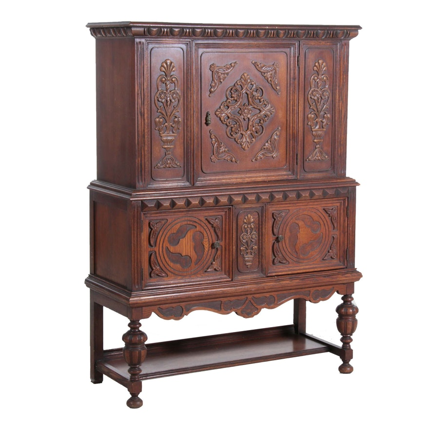 Jacobean Revival Walnut Cabinet, Early to Mid 20th Century