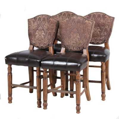Four Ashley Furniture Leather Upholstered Pub Chairs, Late 20th Century
