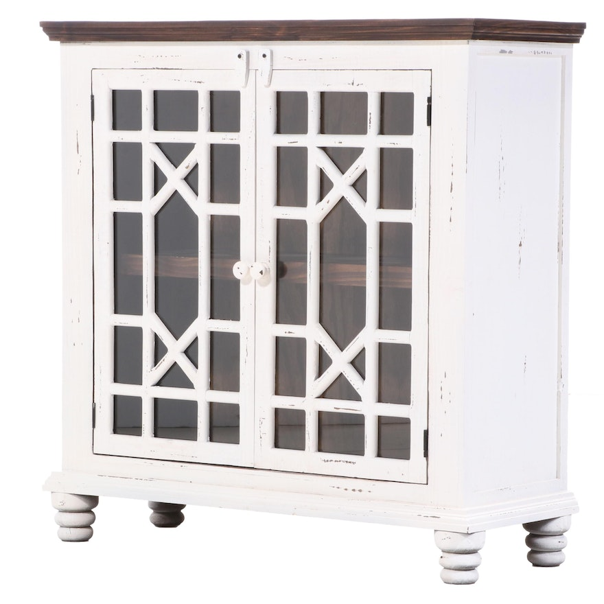 Distressed Painted Wood Cabinet