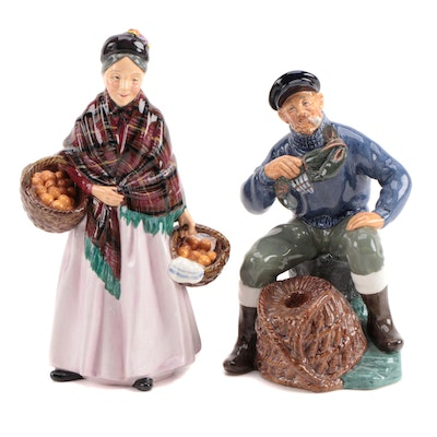 "Royal Doulton ""The Orange Lady"" and ""The Lobster Man"" Ceramic Figurines"