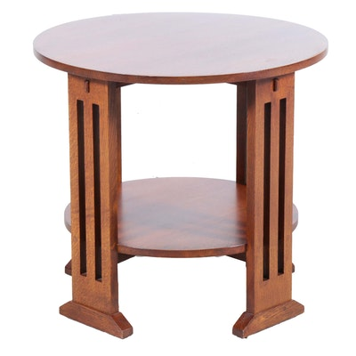 Mission Style Maple Two-Tiered Side Table, Late 20th Century
