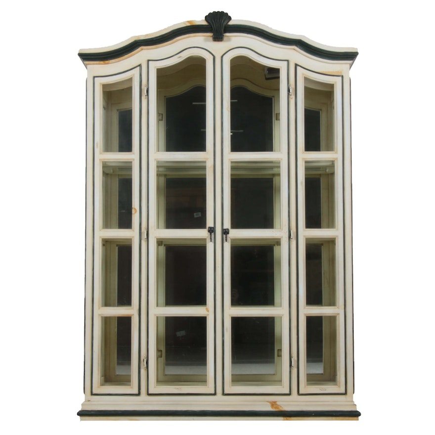 Farmhouse Style Distressed Display Cabinet, Late 20th Century