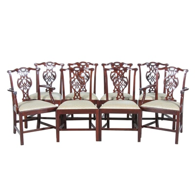 George III Style Mahogany Upholstered Dining Chairs, Set of Eight