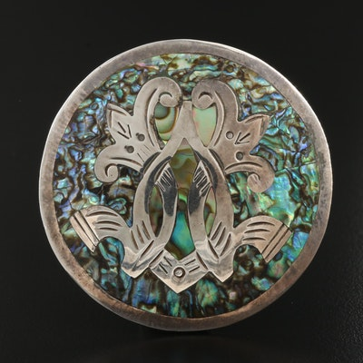Mexican Sterling Silver Abalone Brooch