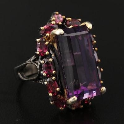 Sterling Silver Amethyst, Rhodolite Garnet and Tourmaline Ring