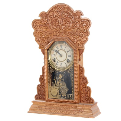 Welch Co. Eight-Day Pressed Oak Shelf Clock with Reverse Painting, Mid-19th C.