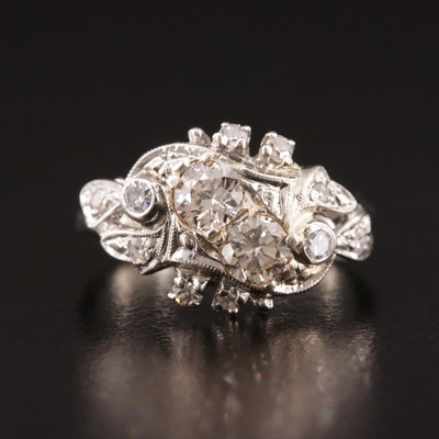 1930's 14K White Gold Diamond Cluster Ring