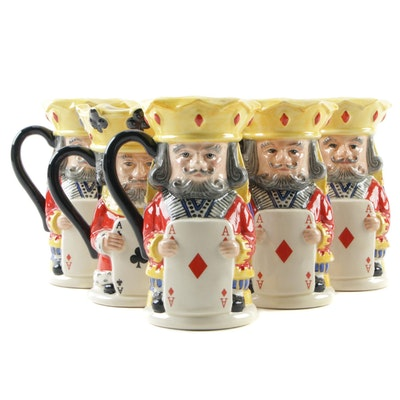 Royal Doulton King of Diamonds and Queen of Clubs Limited Edition Ceramic Mugs