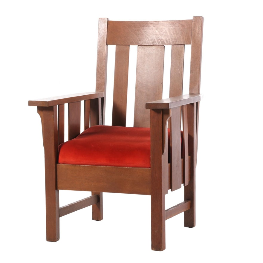 Arts and Crafts Oak Arm Chair, Early 20th Century