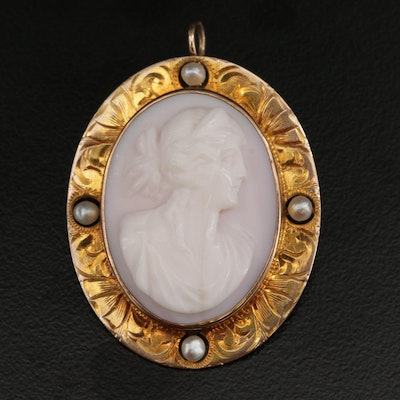 Antique E L Spencer Co 10K Conch Shell and Pearl Cameo Converter Brooch