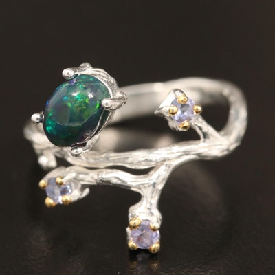 Sterling Silver Opal and Tanzanite Branch Motif Ring