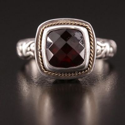 Balinese Style Sterling Silver Garnet Ring with 18K Yellow Gold Accent