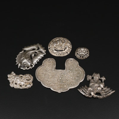 Antique Chinese Amulets and Buttons Including Sterling and 800 Silver