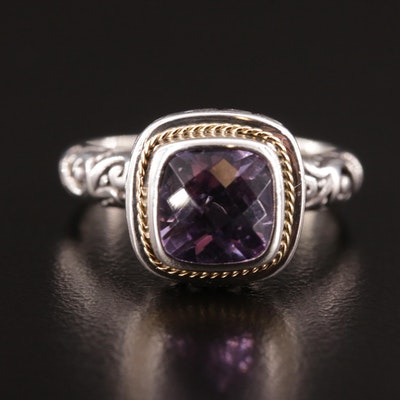Balinese Style Sterling Amethyst Ring