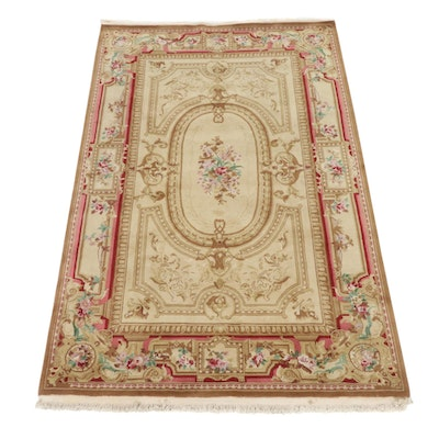 5'7 x 9'0 Hand-Knotted Sino-Persian Ghom Rug, 2010s