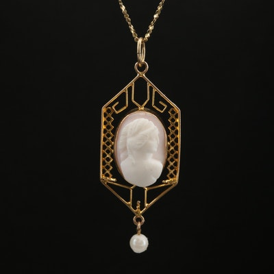 Arts and Crafts 10K Conch Shell and Cultured Pearl Lavalier Pendant on 14K Chain
