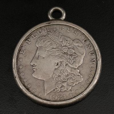 1921-S Morgan Silver Dollar Pendant With Sterling Silver Frame