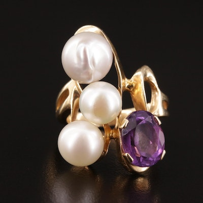 Vintage Triple Loop 14K Gold, Pearl and Amethyst Ring