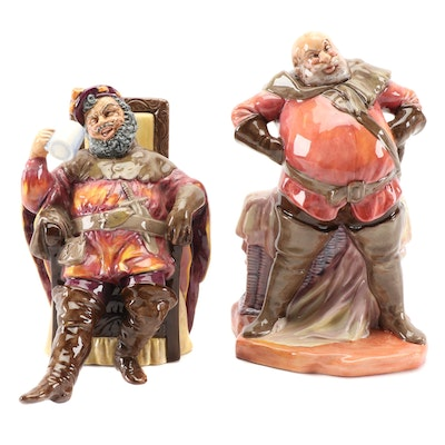 "Royal Doulton ""Falstaff"" and ""The Foaming Quart"" Ceramic Figurines"