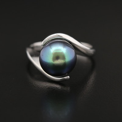 18K Cultured Pearl Bypass Ring