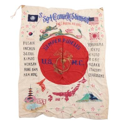 WWII Era USMC Hand-Painted Identified Pilot's Bombing Tour Silk Banner