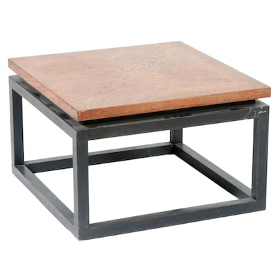 Modernist Oak and Steel Coffee Table, Late 20th Century