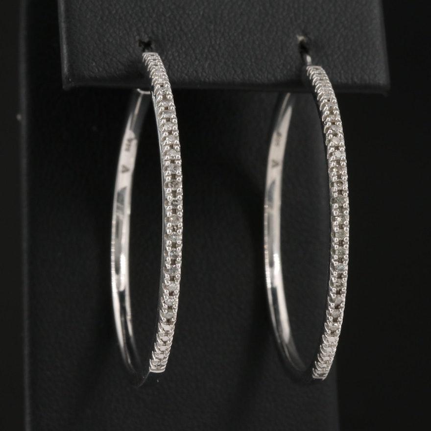 Sterling Silver Diamond Hoop earrings