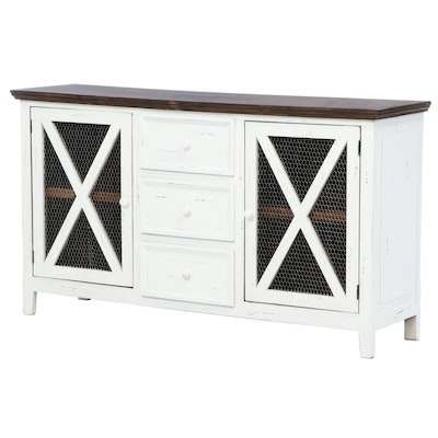 Farmhouse Style Painted Wood Sideboard