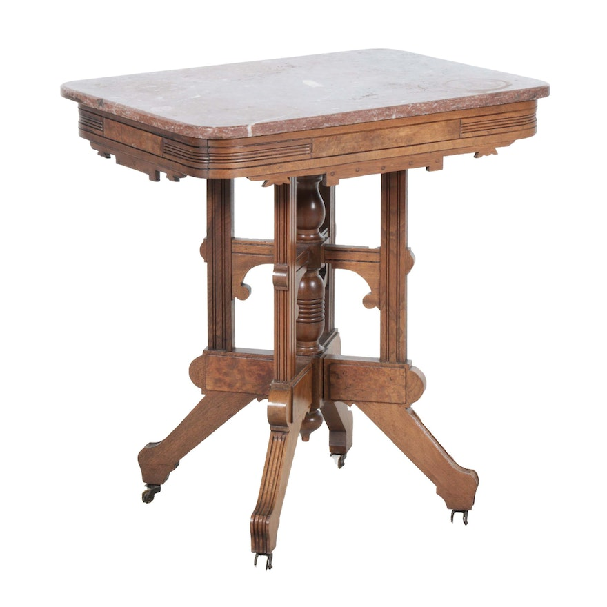Victorian Eastlake Walnut Marble Top Side Table, Early 20th Century
