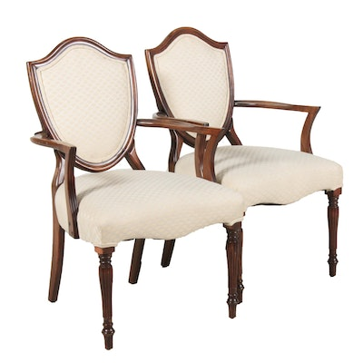 Shieldback Upholstered Armchairs, Late 20th Century, Pair