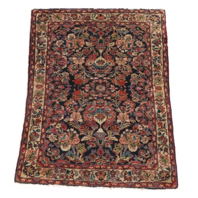 3'6 x 4'7 Hand-Knotted Persian Borchelu Vase of Flowers Rug, 1920s